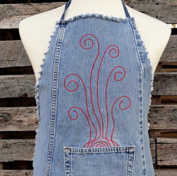 Red Steam Blue Jean Apron  - Upcycled Denim Apron - Men or Women