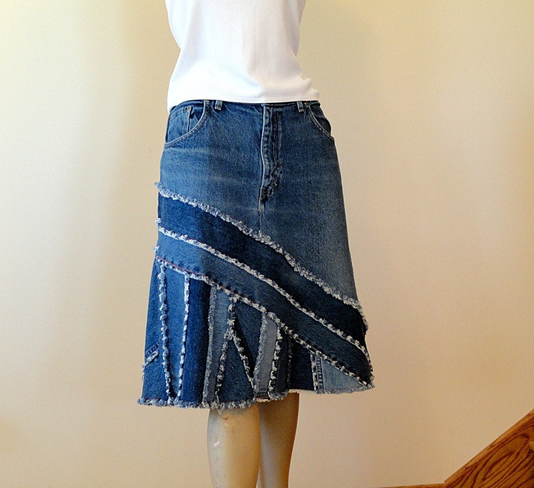Blue Jeans Skirt Ella 2Day Pieced Denim Skirt Made to