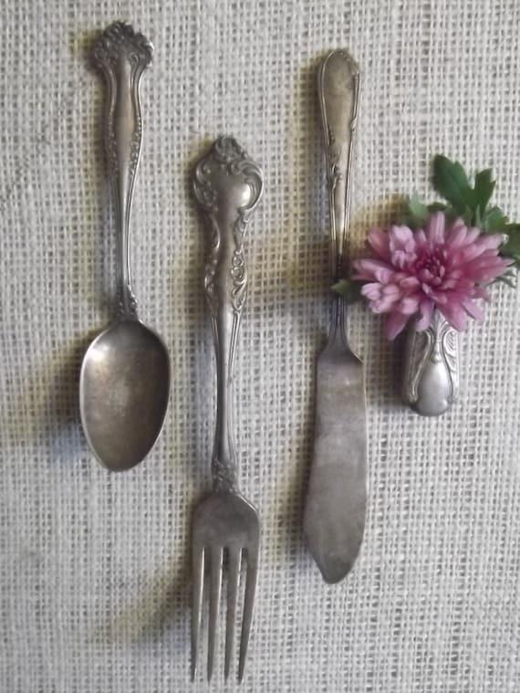 Vintage Silverware magnets, flower holder / vase
