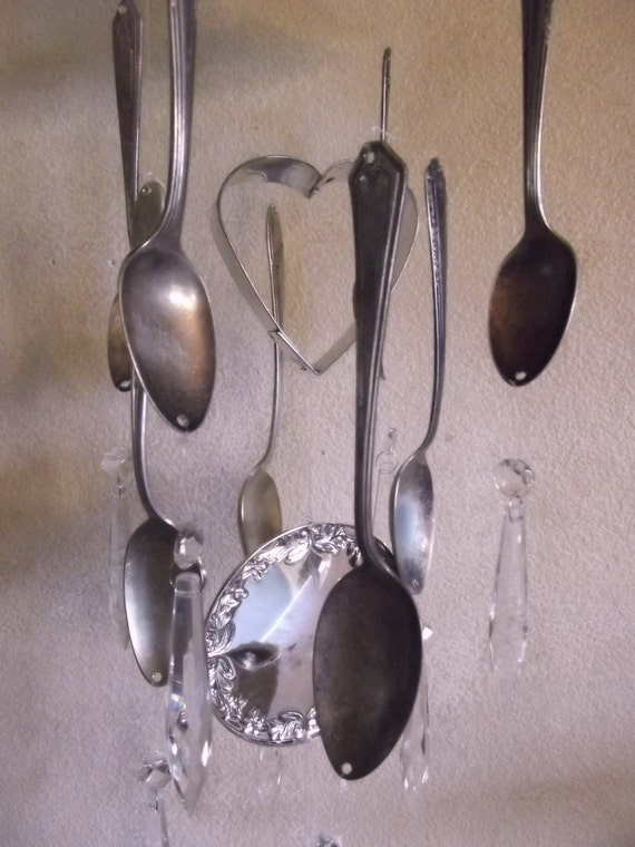 Windchime vintage silverware prisms wind chime for Wind chimes out of silverware