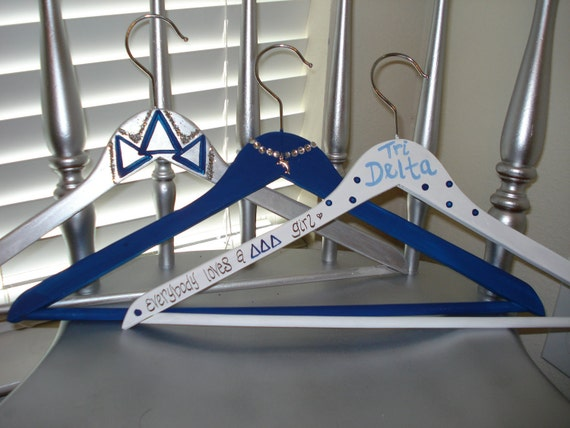 Tri Delta Sorority Painted wood hangers in blue, silver, and white with BONUS Delta Delta Delta PINKtober hanger