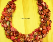 4-Strand Pink Crazy Agate Handmade Knots Necklace