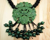 Green Jade Pendant with Handmade Knots Necklace