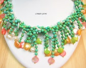 4-strand Howlite,Freshwater Pearl and Shell Necklace