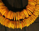 "Orange Yellow Howlite Disk, 25mmx4mm, 16"" long"