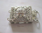 2-strand Silver Plated Rectangle Flower Clasp, 12mmx16mm, 1 pc