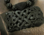 New ---- Hand Knotted Onyx with Black Jade Ruyi Necklace