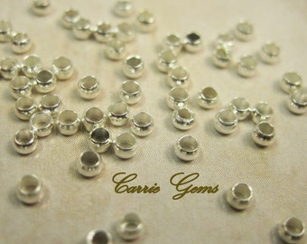 Silver Plated Crimp Beads 2mm 100/PK