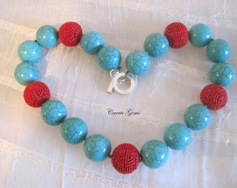 Hand Knotted Howlite and Cinnabar Necklace
