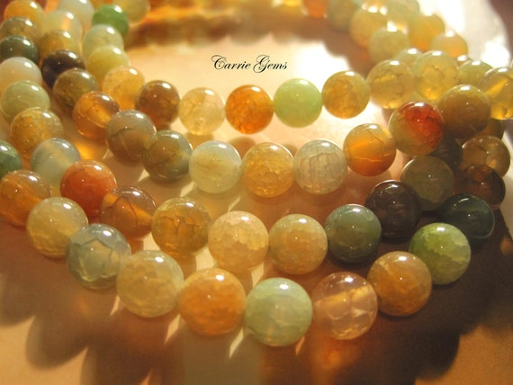 """Multi Color Agate Round 8mm Beads, 8"""" long, 25 pcs"""
