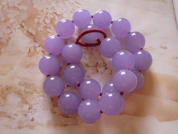 Hand Knotted Lavender Jade Necklace
