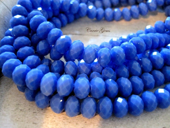 "8"" long (36 pcs) Blue Glass Faceted Roudelle 8mm Beads"