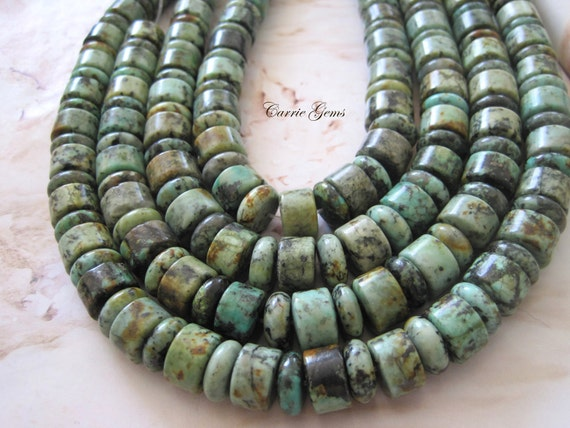 "Reserve for A: 8"" long (32 pcs) African Turquoise Rondelle Beads"