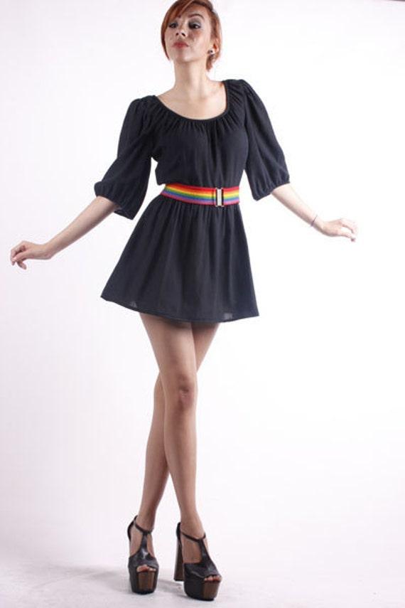 Vtg.80s Black Cotton Balloon Sleeve Rainbow Belted Full Skirt Party Mini Dress.S/M.Bust 38.Waist 28.
