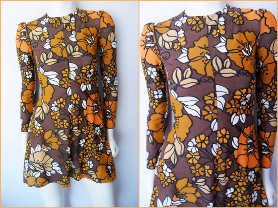 Vtg.60s Psychedelic Floral Mod London Chic Long Puff Sleeve Mini Dress.S.Bust 32-34.Waist 26-28