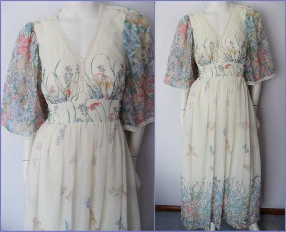 Vtg.70s Cream Spring Garden Print Bell Flutter Angel Sleeve Sheer San Francisco Maxi Dress.S/M.Bust 36-38.Waist 28-30.