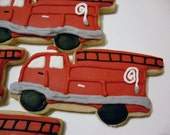 Fire Truck Cookies Party Favors Custom Personalized Birthday for Boy Hand Decorated