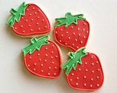 Strawberry Cookies Birthday Party Favors Decorated Cookies Pink Red Cute Girl