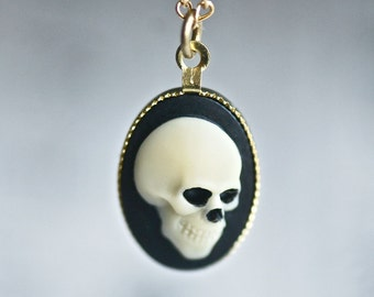 Mr. Skeleton Necklace - Ivory Black Zombie Pirate Skull Cameo - Insurance included in ALL domestic shipping!