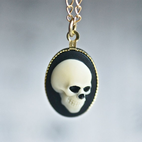 Mr. Skeleton Necklace - Ivory Black Zombie Pirate Skull Cameo