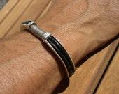 Mens bangles, mens silver bangle, silver bangles, leather wrist cuff, silver bracelets, mens bracelets, mens jewelry, jewelry bracelets