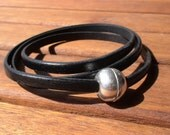 women  men black  leather bracelet with sterling silver plated  ball magnectic clasp