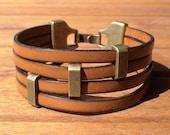 unisex women men  multi strap first quality came l brown leather bracelet