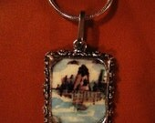 Miniature original pendant framed watercolor painting with sterling silver chain, lighthouse in New England.