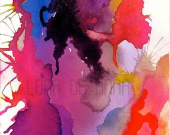 Neon Pink Primavera Watercolour Print  A3
