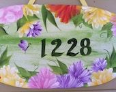 Hand Painted Floral Address / Welcome Sign