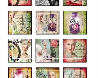 Marie Antoinette-2 inch square images,Scrapbooking Supplies ,Pendant,ScrapBooking, Magnet, Paper Craft-Digital Collage Sheet