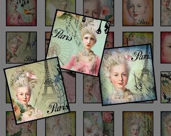 Marie Antoinette-1 inch square images,Scrapbooking Supplies ,Pendant,ScrapBooking, Magnet, Paper Craft-Digital Collage Sheet
