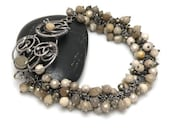 Tamarel  - wire wrapped bracelet  with striped flint and pyrites reserve for Anna