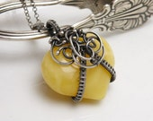 Amber Heart  - silver wire wrapped pendant with amber