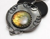 Darinis - silver wire wrapped pendant with labradorite reserve for Anna