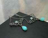 Illidan   - silver wire wrapped earrings with chalcedone and blue opal