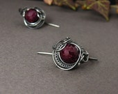 Silver wire wrapped earrings with ruby stone - small and elegant