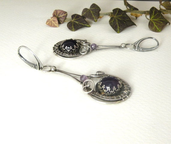 Silver wire wrapped earrings with amethyst - Vintage Style