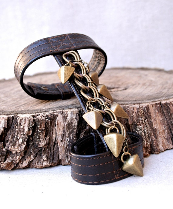 Reserved for chinad0ll - 30% OFF - m a d 2 0 2  -  Chocolate Brown Leather Gladiator Cuff Bracelet w/ Brass Chain and Arrow Daggers