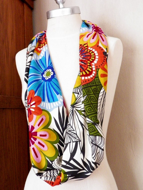 Scarf Mod Tropical Floral Print Rayon Fabric Infinity Loop Spring Summer