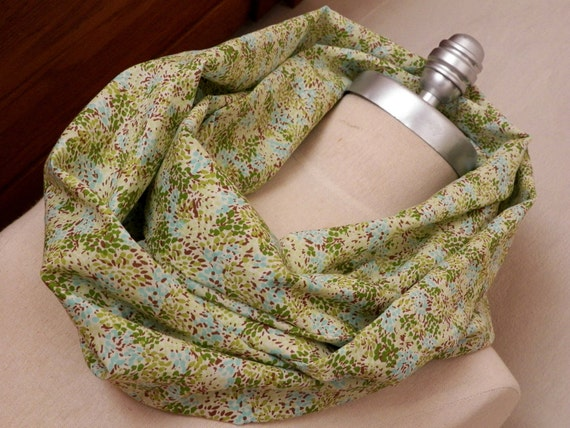 RESERVED Infinity Scarf, Cotton Fabric Loop Scarf Spring Green, Mint, Aqua, Brown, and Cream