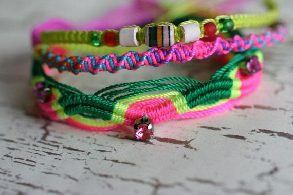 Haute Hippie Rhinestone Accent Friendship Bracelet Set