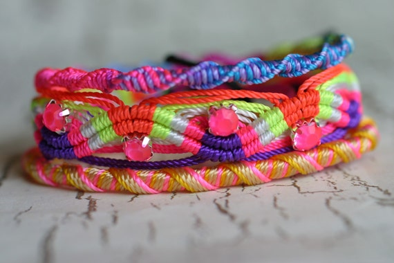 Hot Hippie Neon Hand Painted Rhinestone Accent Friendship Bracelet Set