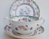 Antique Copeland Spode Eden Breakfast / Soup Trio - Two Handle Bowl, Saucer and a Side Plate