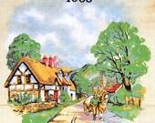 Vintage English 1988 Calendar Tea Towel - Textile Countryside View Tea-towel - Causeway, United Kingdom - from England UK