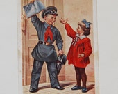 Vintage Soviet Postcard - School Uniform - Children - Studies - Five Again - 1950s - from Russia / Soviet Union / USSR