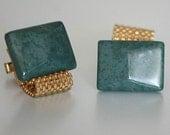Vintage Gemstone Cufflinks - Green Jasper and Gold Tone Metal Mesh Cuff Links - 1970s - from Russia / Soviet Union / USSR