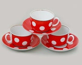 Vintage Ceramic Tea Set for Three - Teacup Saucer - Cups Saucers - White and Red Polka Dot Spots - 1970s - from Russia / Soviet Union / USSR
