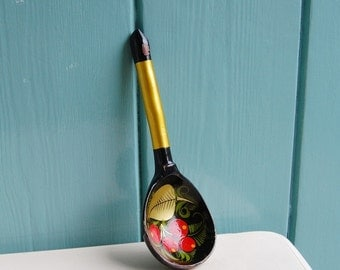 Vintage Hand Painted Wooden Spoon from Russia / USSR / Soviet Union in Red, Green, Black and Gold