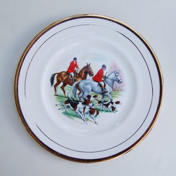Vintage English Pall Mall Ware Fox Hunting Scene Bone China Decorative Plate - Platter